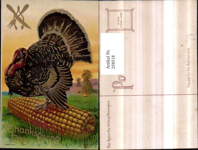 Präge Litho AK Thanksgiving Day Erntedank Truthahn Maiskolben