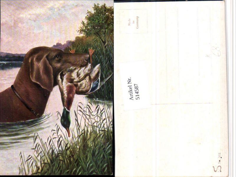 Künstler AK Jagd Jagdhund Hund Fang Ente