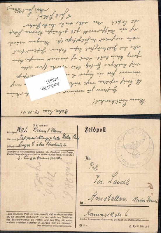WW2 Feldpost Kommandatur Tr. Übungs Platz Krakau n Amstetten