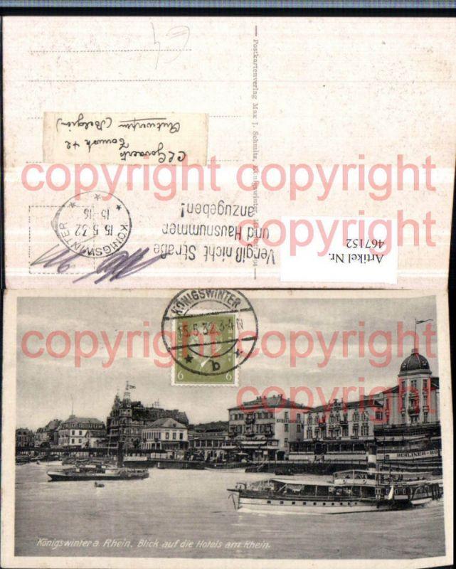 Königswinter am Rhein Blick auf die Hotels am Rhein Dampfer