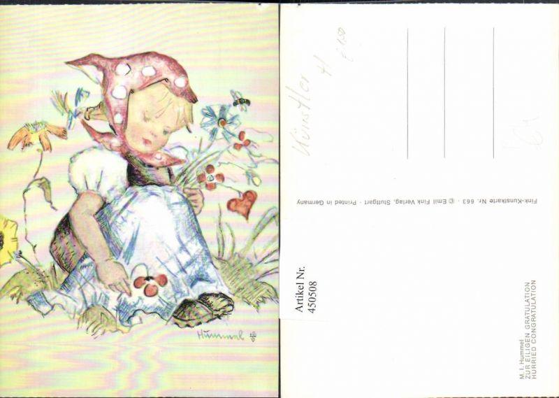 Künstler AK Berta Hummel Eilige Gratulation Mädchen Kopftuch Blumen
