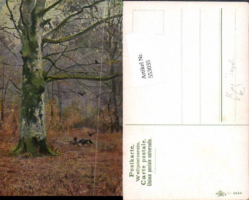 Künstler AK Jagd Jäger Tiere Wald Bäume Baum pub Erika 2335
