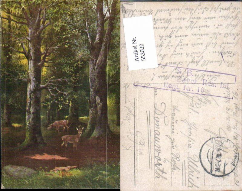Tolle Künstler AK Jagd Jäger Tiere Wald Rehe Wild Bäume Baum