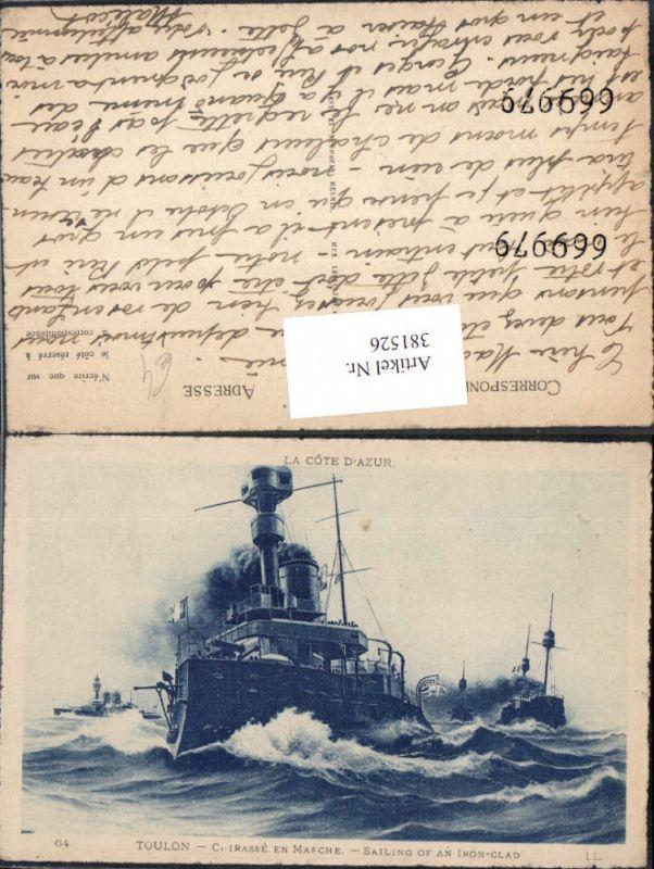 Schiff Kriegsschiff Sailing of an Iron-Glad Cuirasse en Marche Toulon Kre