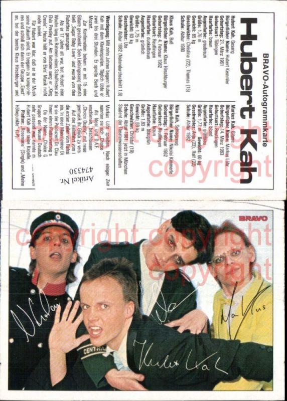 Musiker Band Hubert Kah Bravo Autogrammkarte