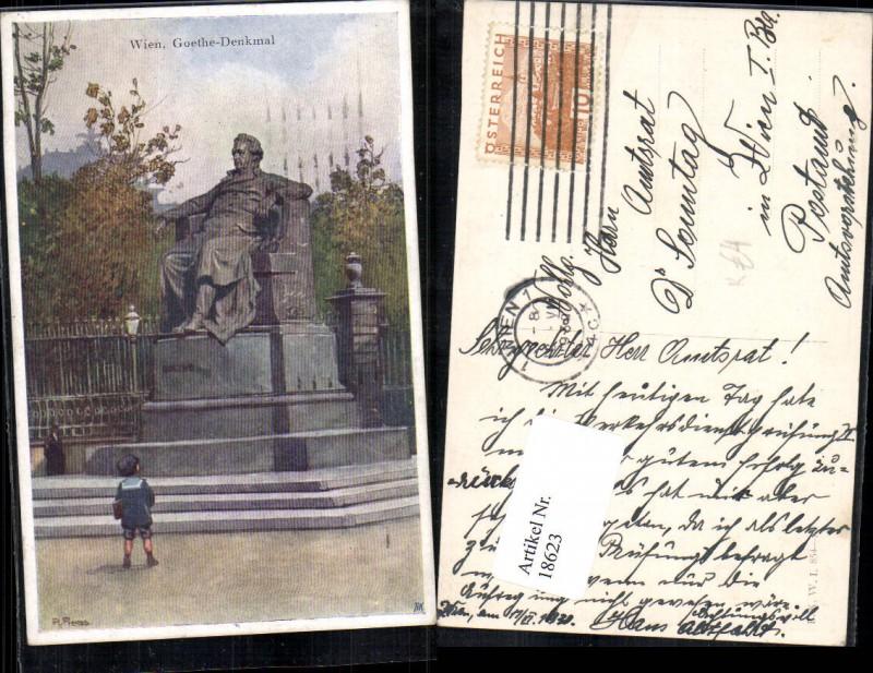 Wien 1 Goethe Denkmal Detailansicht Künstlerkarte R. Preuss