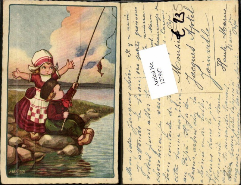 A. Bertiglia Kinder beim Angeln fischen Fisch