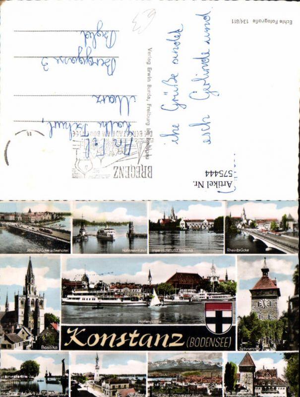 Mehrbild Ak Konstanz Bodensee Hafeneinfahrt Rheinbrücke Schnetztor