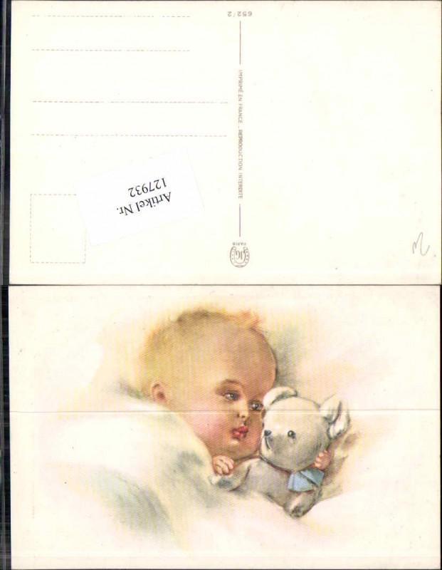 Süsse Kinder Künstlerkarte m. Teddy Teddybär im Bett baby