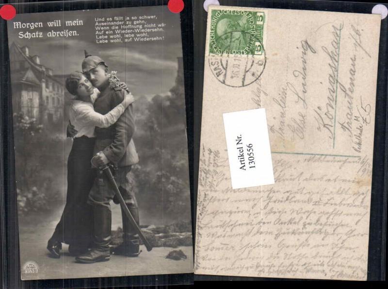K.K. Soldat m. Pickelhaube und Frau Uniform Schwert Degen Patriotik