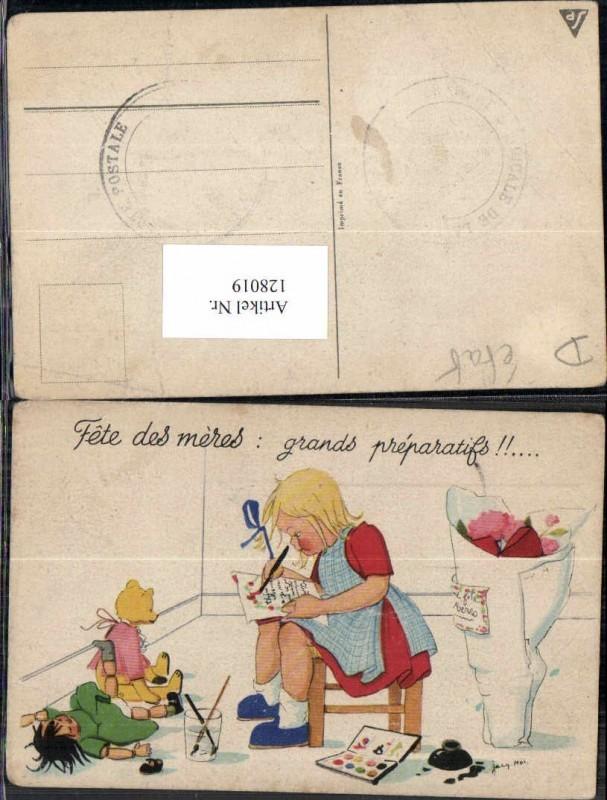 Süsse Kinder Künstlerkarte Süsses Mädchen Teddybär Teddy Puppe