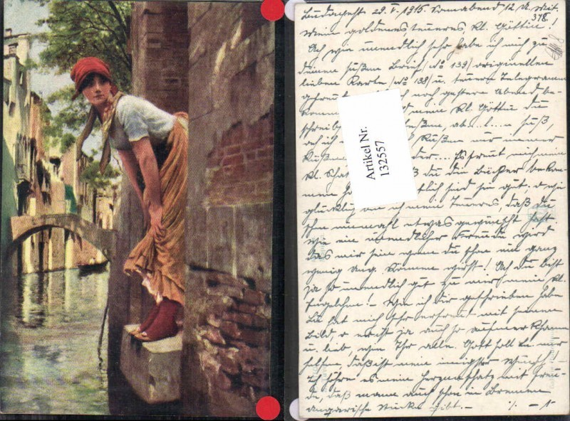 E. Titto sign. Italienische Künstlerkarte Frau in Venezia