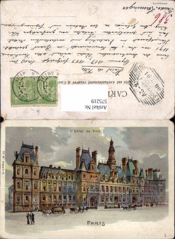 Künstler Litho France Paris L Hotel de Ville Rathaus