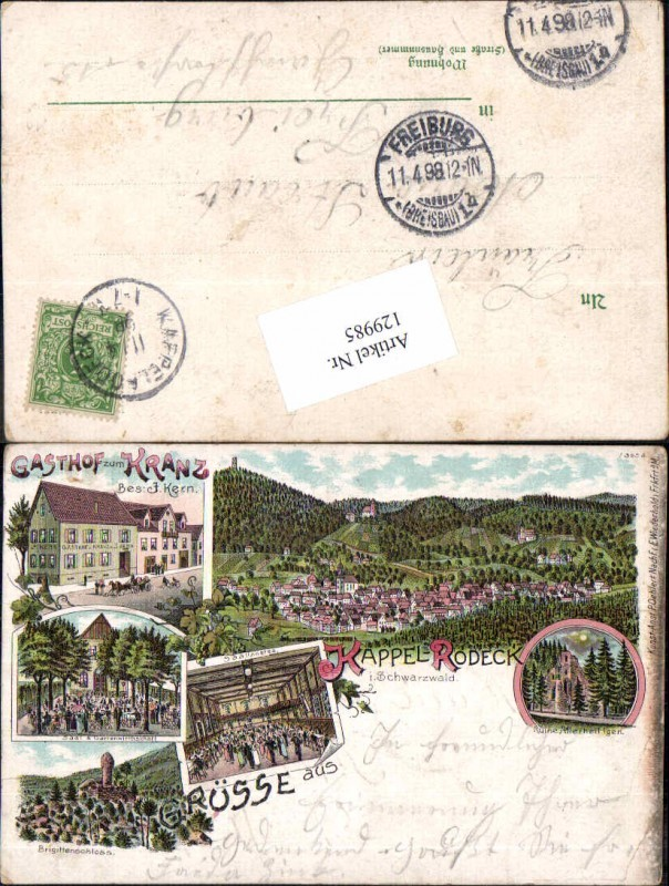 Tolle Litho Gruss aus Kappelrodeck Rodeck im Schwarzwald Gasthaus zum Kra