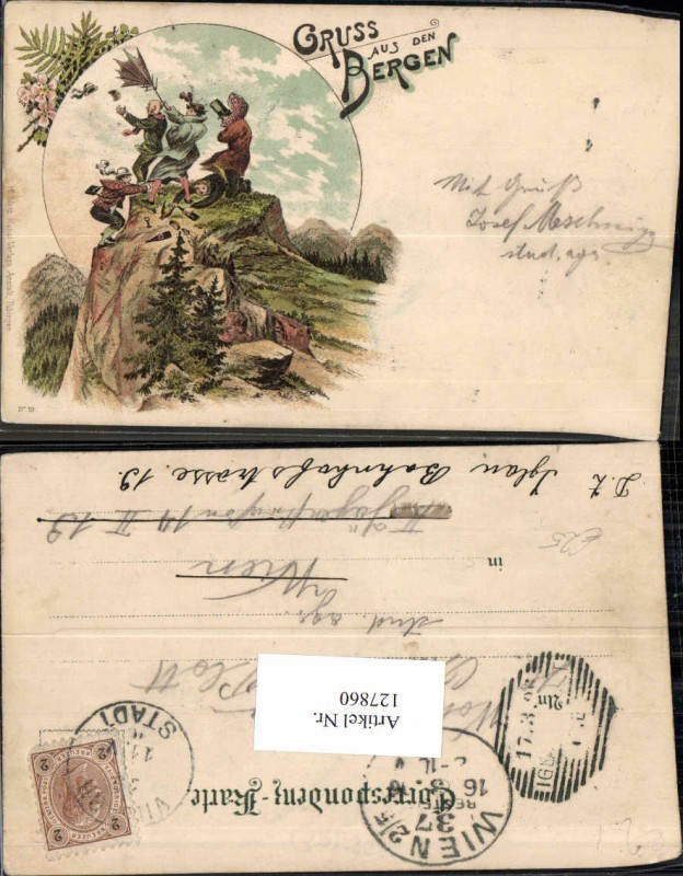 Litho Gruss aus den Bergen Juxkarte Scherzkarte Humor 1897 pub Metz Tübin