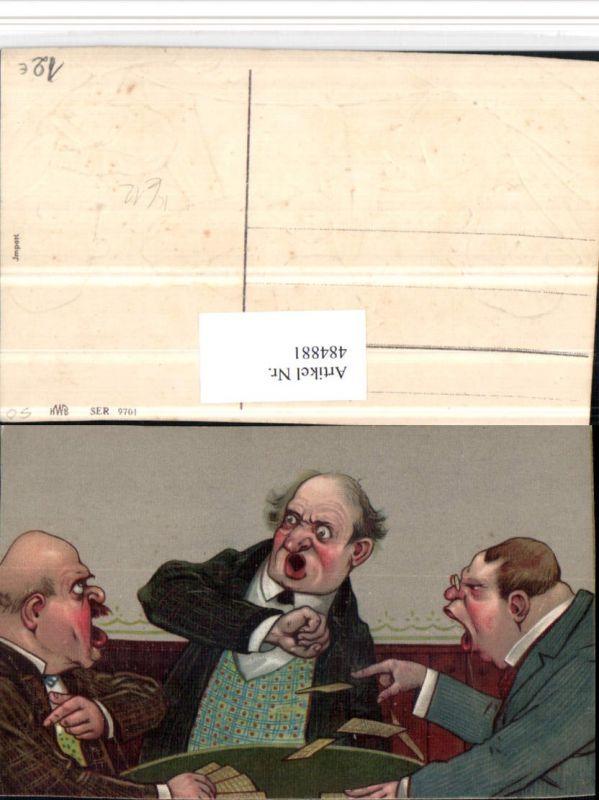 Präge Künstler AK Scherz Humor Männer Kartenspiel wütend