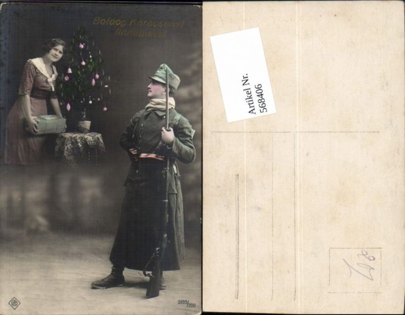 Foto-AK Soldat Bayonette Weihnachten Uniform Frau Christbaum Nr ...