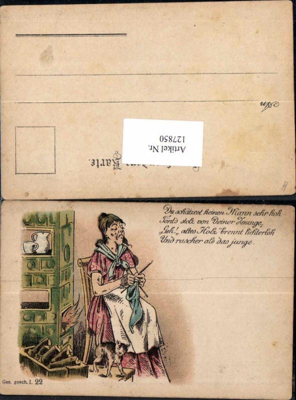Litho Katze Frau beim stricken Spruch Ehemann Juxkarte Frauenfeindlich