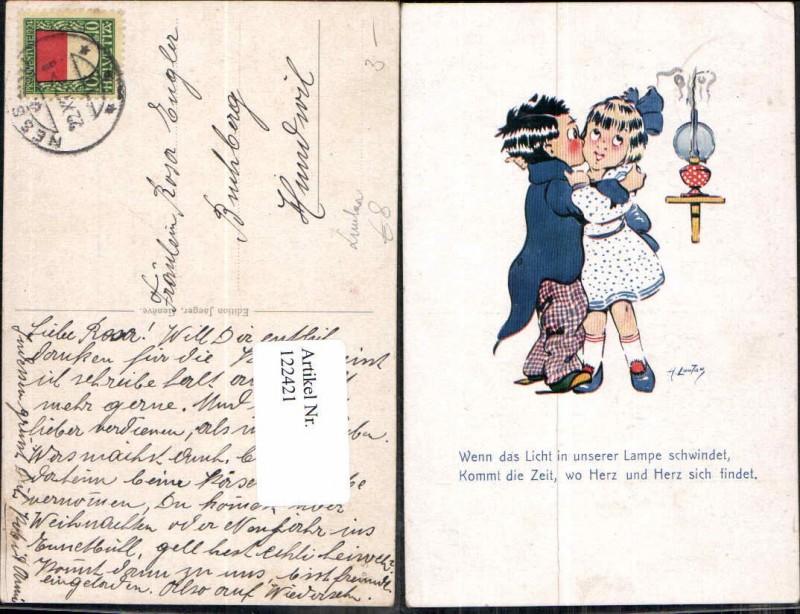 Tolle Künstlerkarte Kinder Junge küsst Mädchen H. Loutan