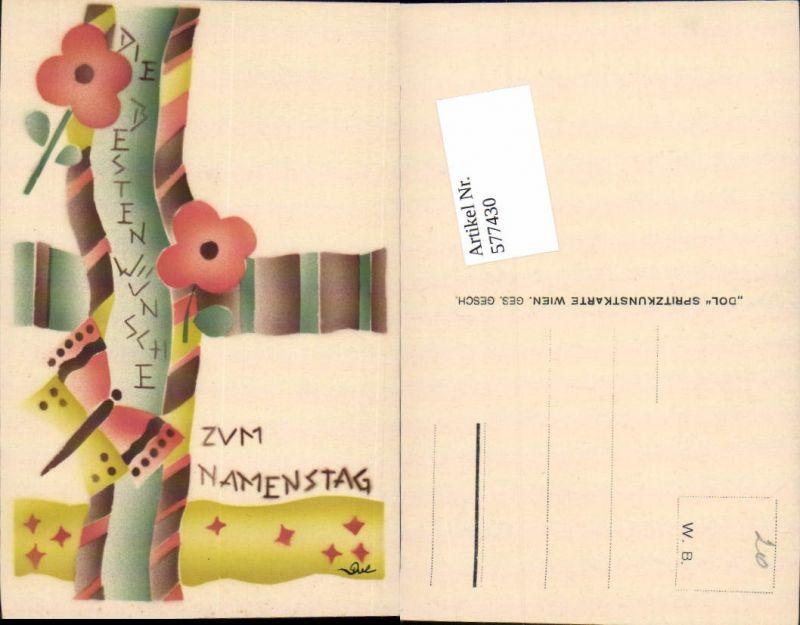 Künstler AK handgemalt Namenstag DOL Spritzkunstkarte