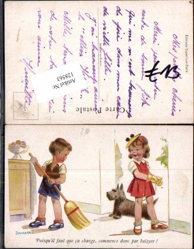 Schöne Künstler AK Kinder Hund Junge beim kehren m. Besen sign. Janser