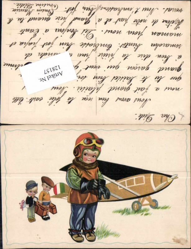 Süsse Künstlerkarte Kinder als Piloten Flugzeug