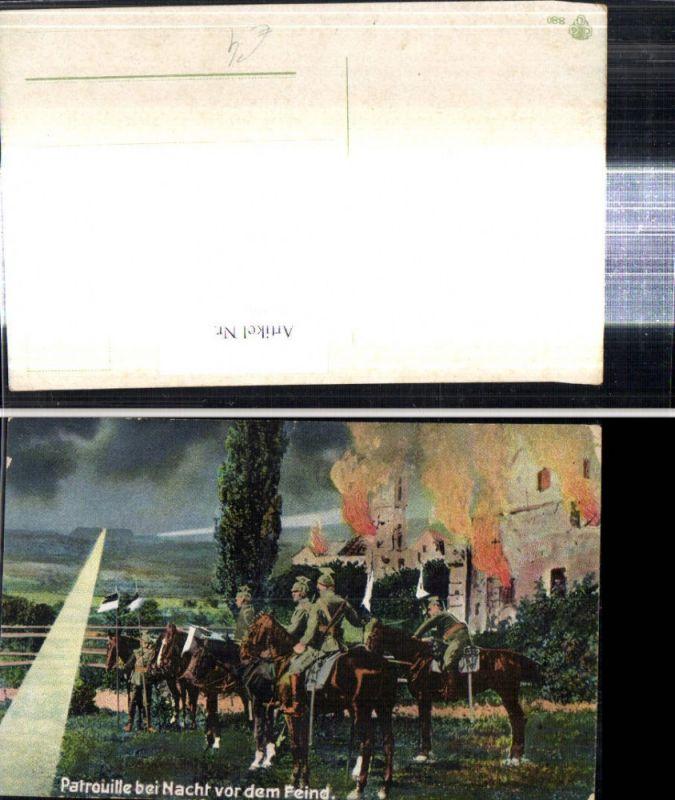 WW1 Soldaten Kavallerie Brennende Häuser Patrouille b. Nacht v. d. Feinde