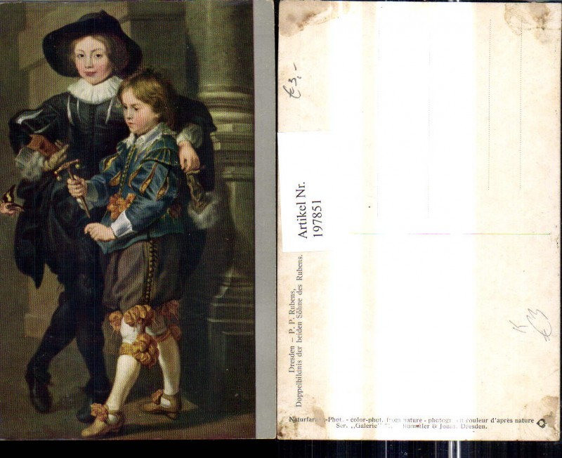 Künstler Ak Peter Paul Rubens Doppelbildnis d. beiden Söhne d. Rubens Kin