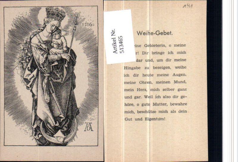 Heiligenbildchen Andachtsbild Albrecht Dürer Maria m. Jesuskind
