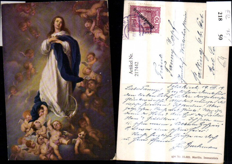 Religion Künstler Ak Bartolome Esteban Murillo Immaculata Heilige Engeln