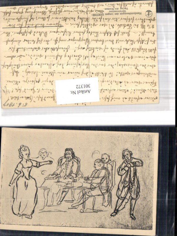 Künstler Ak Handzeichnung Goethe Gerichtsszene Gericht