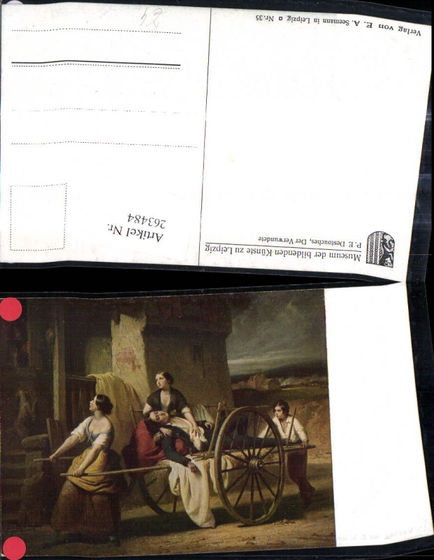 Künstler Ak P. E. Destouches Der Verwundete Frauen Verletzter Mann a. Kar