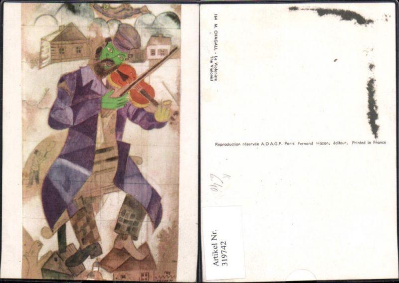 Künstler Ak Marc Chagall Le Violoniste The Violonist Geigenspieler