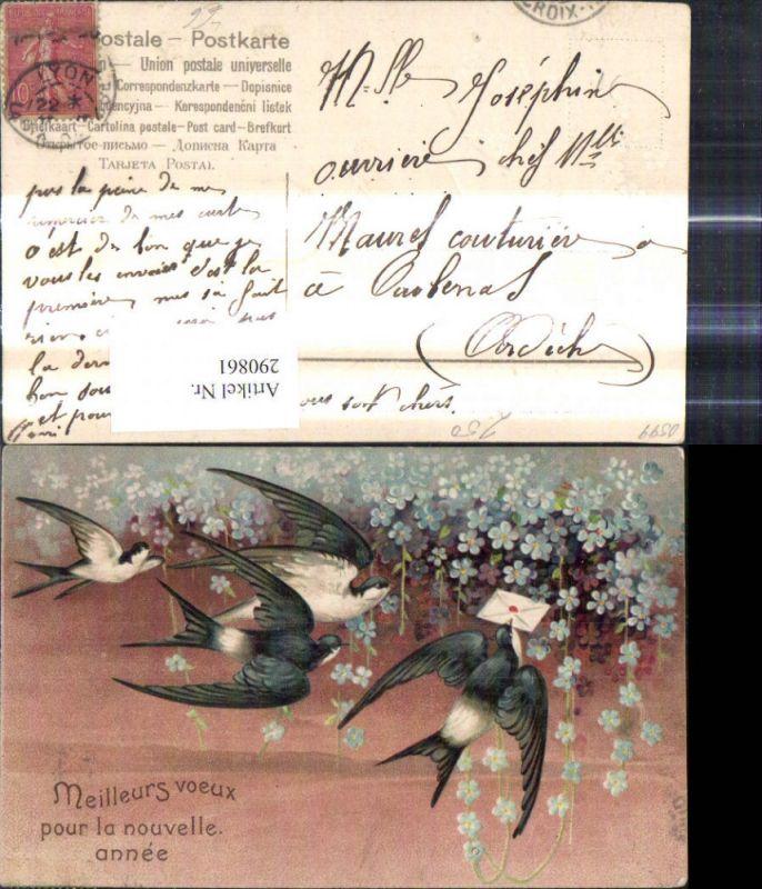 Präge Litho Schwalben m. Brief Kuvert Blumen Vergissmeinnicht
