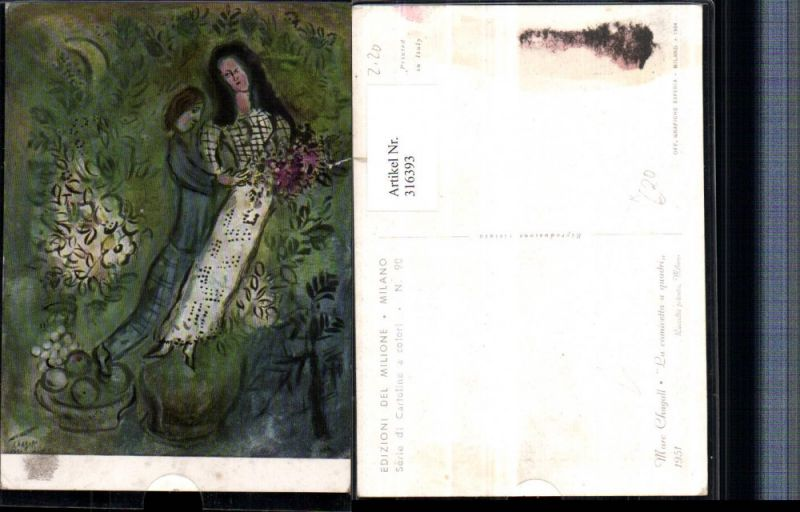 Künstler AK Marc Chagall La camicetta a quadri Frauen Blumen