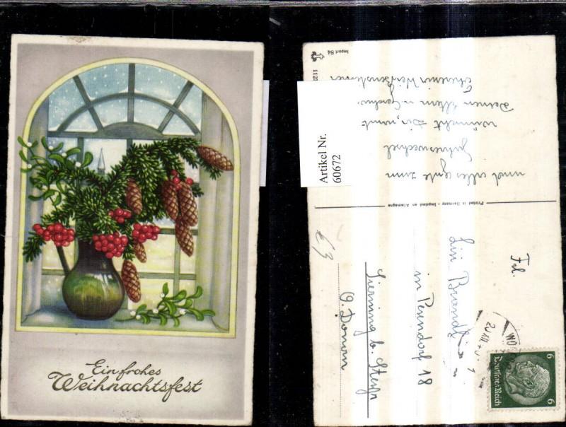 Künstler Ak Weihnachten Vase m. Mistelzweig Zapfen Tannezweig a. Fenster