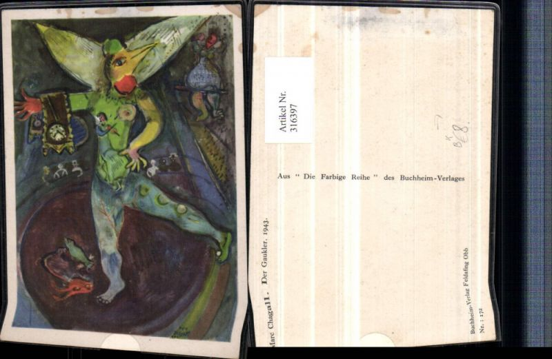Künstler AK Marc Chagall Der Gaukler Clown