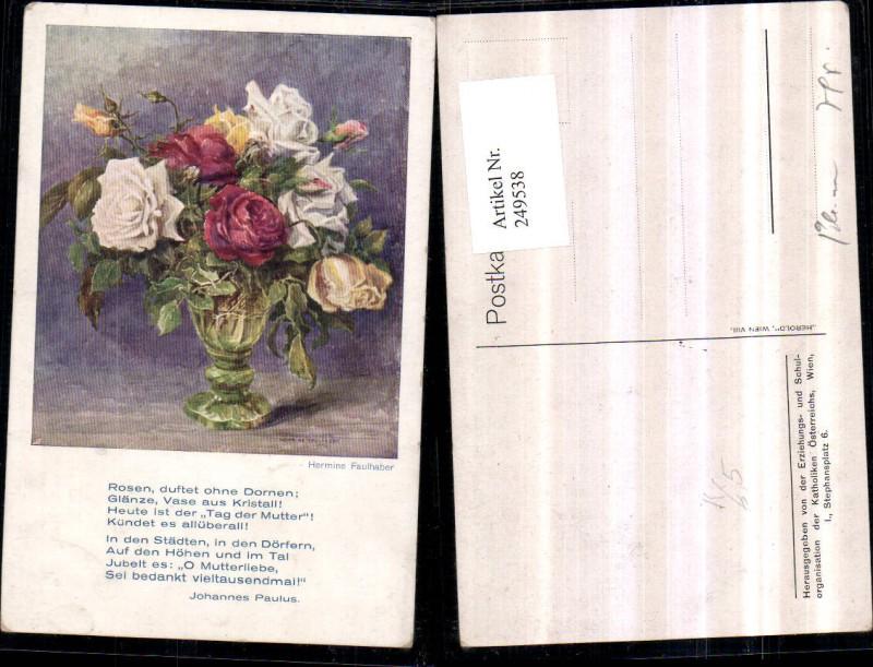 Künstler AK Hermine Faulhaber Muttertag Rosenstrauß Rosen Vase Gedicht Sp