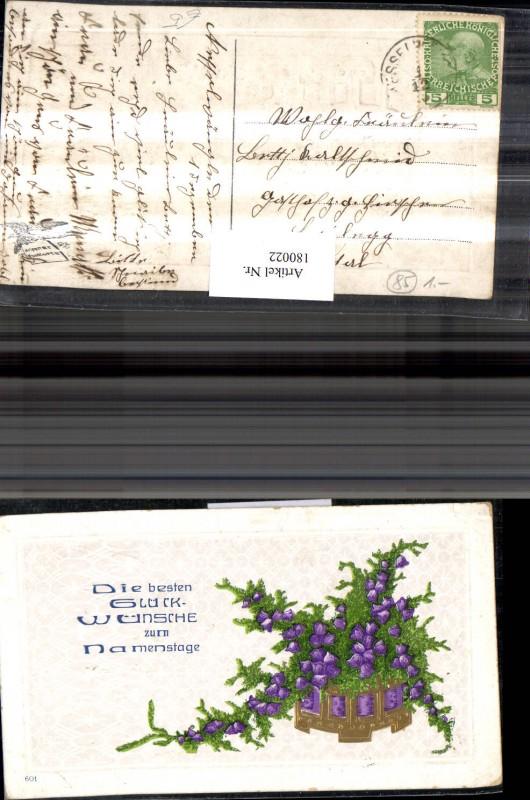 Namenstag Präge AK Blumen Glockenblumen Tannenzweige