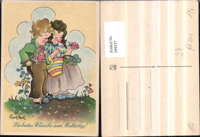 Künstler AK Pupek Muttertag Kinder Mädchen m. Korb Marienkäfer Blume Pant