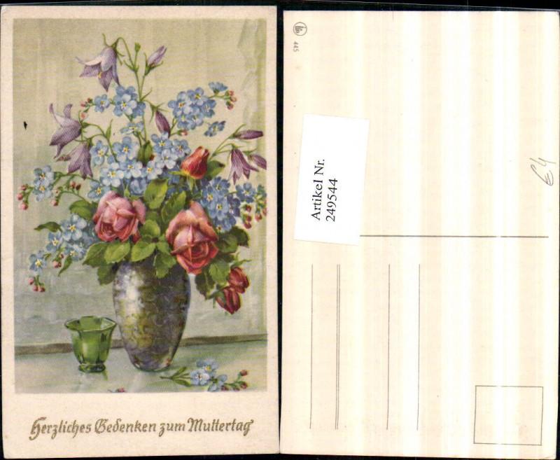 Muttertag Blumenstrauß Vergissmeinnicht Rosen Glockenblumen Vase