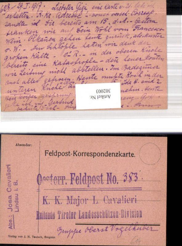 K.k. Feldpost 383 Reitende Tiroler Landesschützen Division Gruppe Oberst