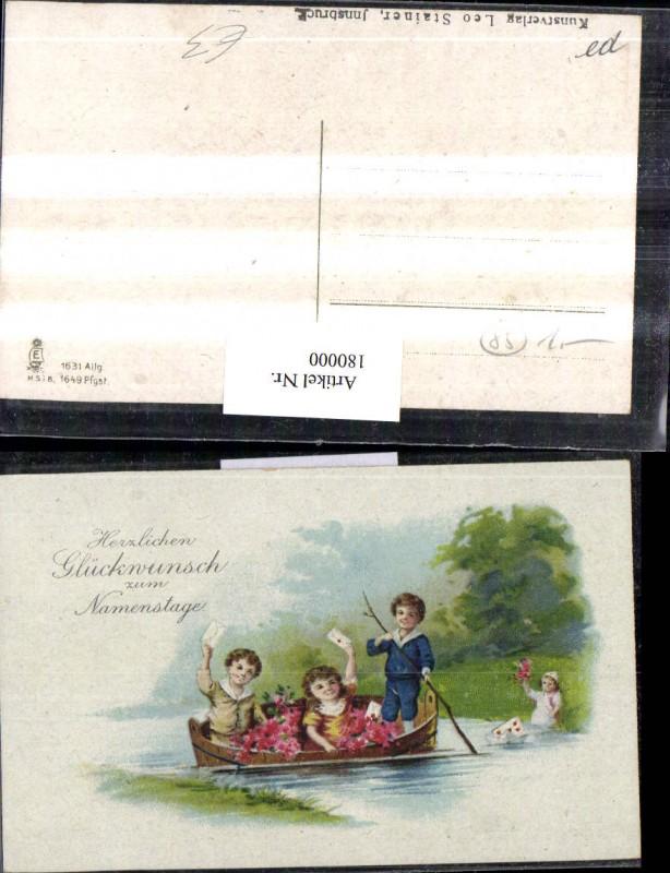 Namenstag Kinder in einem Fass am Fluss Blumen Briefe