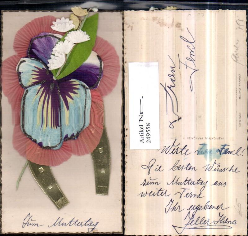 Muttertag Geklebtes Hufeisen Stiefmütterchen Blumen
