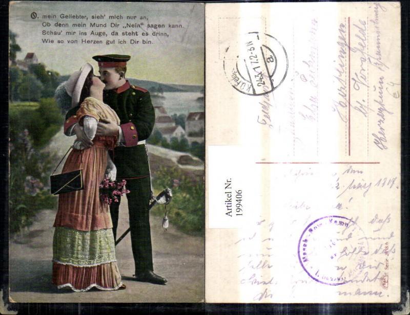WW1 Soldat Uniform Kuss Frau Handtasche Hut Mode Degen Spruch Liebe