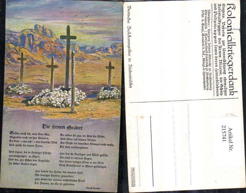 Künstler Ak Deutsche Soldatengräber in Südwestafrika Kreuze Spruch Text R