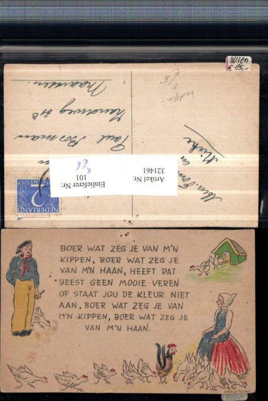 Künstler AK Handgemalt Holländisch Text Hahn Hühner Mann m. Pfeife