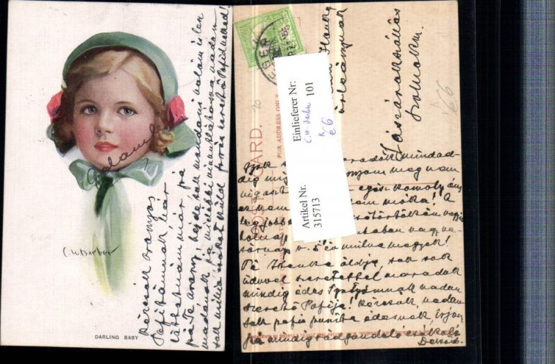 Künstler AK C. W. Barber Darling Baby Kind Mädchen Portrait pub Carlton P