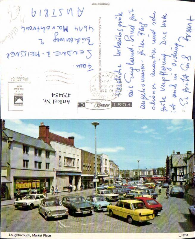Loughborough Market Place Parkplatz Oldtimer Auto PKW