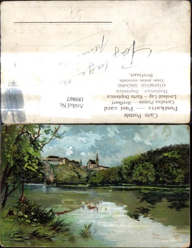 Künstler Ak Kirche Dorf Fluss Landschaft